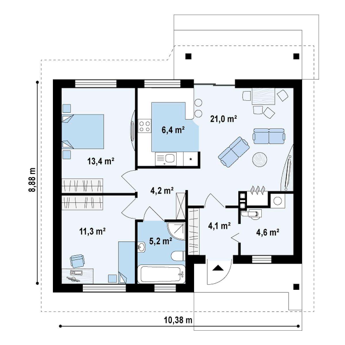 Дом с мансардой 78 рисунок чертеж 3